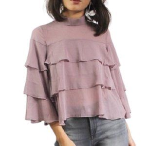 Bishop + Young Chiffon Ruffled Blouse in Lavender
